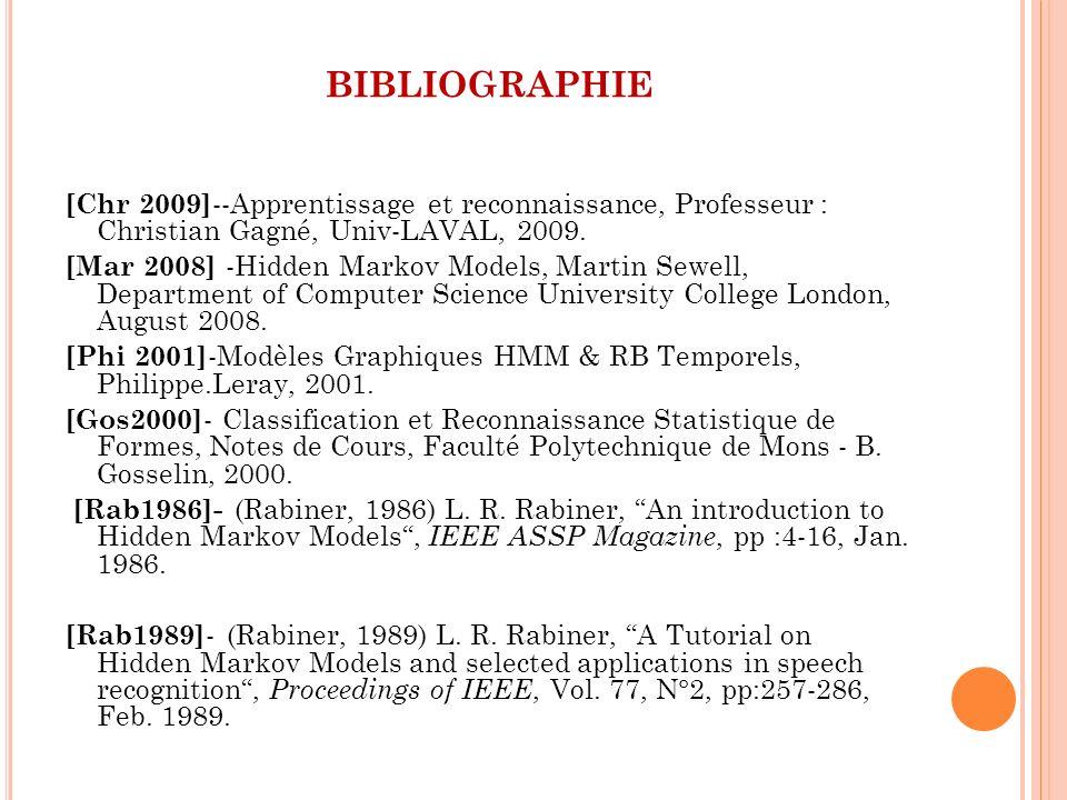 bibliographie [Chr 2009]--Apprentissage et reconnaissance, Professeur : Christian Gagné, Univ-LAVAL, 2009.